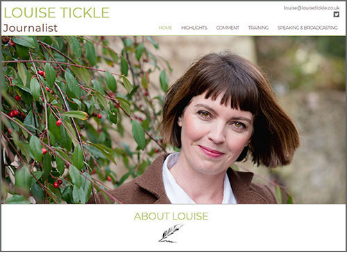 Louise Tickle - website designed and developed by Elizabeth Walsh